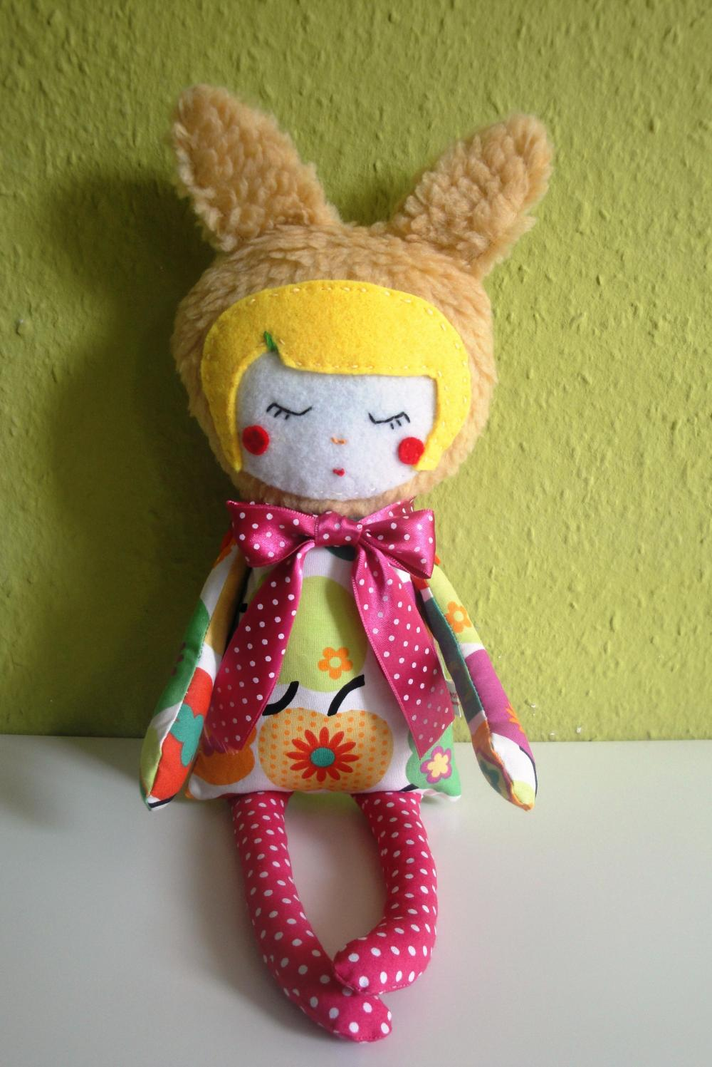 Miss Lapina the bunny girl in a apple dress